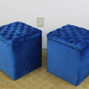 blue storage boxes stools